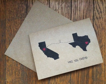 """CUSTOMIZABLE  """"Miss you, friend"""" - state notecards  (Set of 2)"""