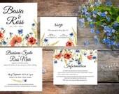 boho,rustic, folk wedding invitation set, watercolor flowers, rsvp information card digital template set ready to print