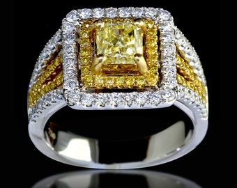 1.99 tcw Radiant Cut Fancy Yellow Diamond Engagement Ring GIA Certified - BAJ-101