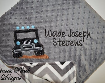 Jeep Blanket, Personalized Baby Blanket, Personalized Jeep Blanket, Personalized MInky Blanket, Minky Jeep Blanket, Custom blanket
