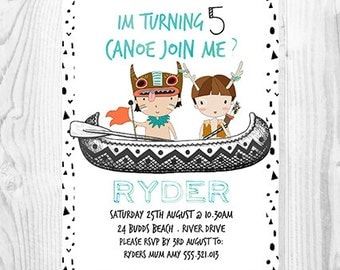 Canoe Join Me? Tribal Boys Birthday Invitation - Personalised - Printable - Digital File