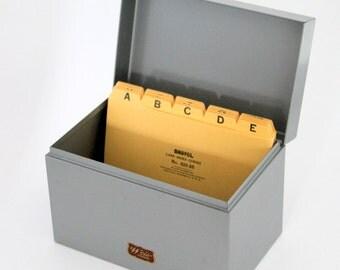 Vintage File Box, Retro Office Metal File Box , Industrial File Box,  Weis Metal File Box, Grey Metal Office File Box, Mid Century Office