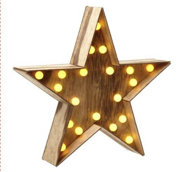 Wooden star light up led home by