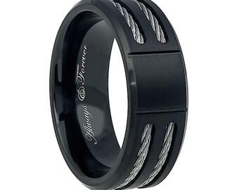 Wedding Band, Wedding Rings, Black Titanium Ring, Titanium Wedding Band, Titanium Ring, Custom Engraved Ring, Anniversary Band, Promise Ring