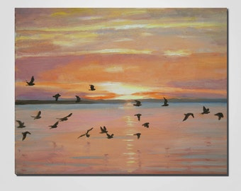 Landscape  Oil Painting, Art Painting, Canvas Art, Handmade Painting, Sunset Painting, Wall Art