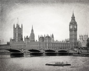 London Photography, Black and White, Big Ben, Parliament, Westminster, Fine Art Print, Travel Photo, London Decor, Wall Art, Home Decor