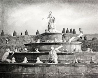 Versailles, Paris Wall Art, Europe Photography, Black and White, Sculpture, Latona Fountain, Palace of Versailles, France, Travel Decor