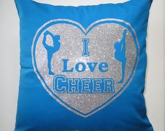 Cheerleading cushion cover - I Love Cheer cushion cover, Cheer pillowcase, cheerleader pillow, cheerleading accessories, cheer pillow blue