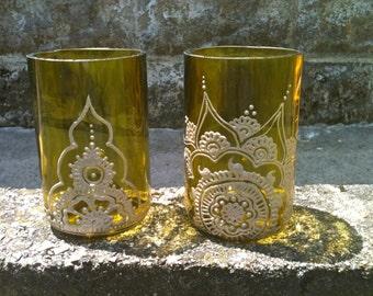 Henna Style Decorated Wine Bottle Tumblers