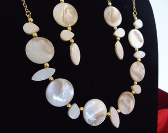 Mother of Pearl Necklace and Earrings Set