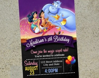 Aladdin Invitation Aladdin Invitation Aladdin Invite Free Thank you Card Included