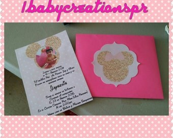 Minnie mouse pink and gold invitation