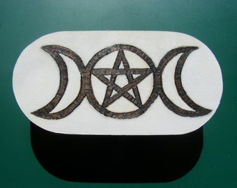 Goddess of The Light, Triple Moon Pentagram Box, Portable Altar