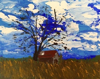 Barn Painting by J. Travis Duncan - Landscape Acrylic Painting - 8x10 Canvas Panel Old House In Field Painting - Clouds Painting - panoplei