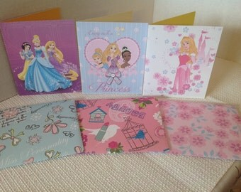 Disney Princess Card Set ( blank inside ) , Snow White, Rapunzel, Cinderella , Aurora, Tiana, girls , birthday, FREE CONFETTI