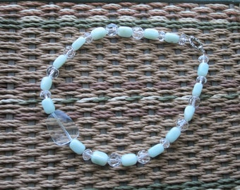 Light Blue-Green and Clear Necklace