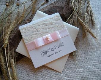 Baptism Invitation, Lace Baptism Invitation, Pink Baptism Invitation, Pocket Fold Invitations