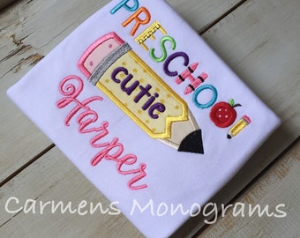 Back to School Appliqued Tshirt, Preschool Appliqued Tshirt, Personalized Back to School Tshirt