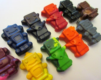 Set of 10 Colorful Robot Crayons