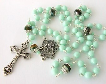 Catholic Rosary Beads - Classic Five Decade Rosary - Pale Mint Green Czech Glass Beads Rosary - Catholic Gift