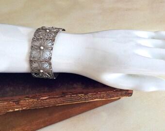 """Vintage European 28.8 gram sterling silver filigree panel link bracelet cuff 7.5"""""""