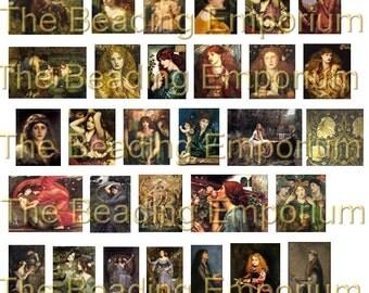 Pre-Raphaelite Instant Download Printable Digital Collage Sheet Ephemera 43 Images by The Beading Emporium™