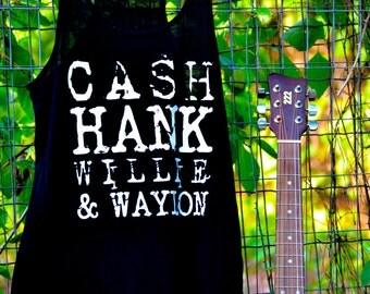 Cash, Hank, Willie and Waylon Flowy Tank Legends of Music