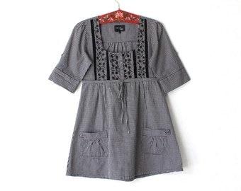 Vintage Gray Black Checkered Cotton Dress Tunic Peasant Mini Dress Medium Size