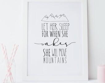 Let Her Sleep Monochrome Scandinavian Inspired Nursery Art Print kids room decor