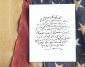 "O Beautiful for Spacious Skies (America, the Beautiful)     8x10"" Calligraphy Print, Typography Print, Patriotic Art Print"