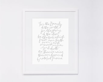 """For the Beauty of the Earth     8x10"""" Calligraphy Print (Digital Download), Hymn Art Print, Wedding Gift, Anniversary Gift, Home Decor"""