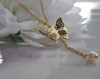 Fluttering Butterfly Necklace with a Pearl, Y-Necklace, Layering Necklace