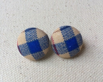 Plaid Button Earrings - Fabric Button Post Earrings - Fall