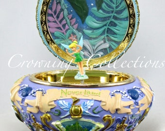 Disney Tinker Bell Peter Pan Music Box Never Land You Can Fly Tink Purple Round Jewelry Box Circular 3D Fairy