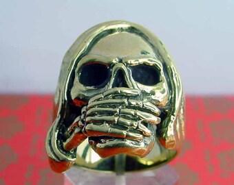bronze ring  Biker SKULL Say No Evil NEW (11)