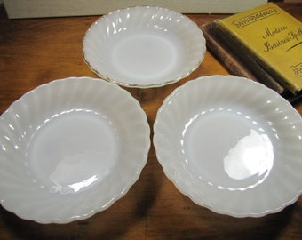 Anchor Hocking - Fire King - Milk Glass - Shallow Bowls - Swirled Rim - Set of Three (3)