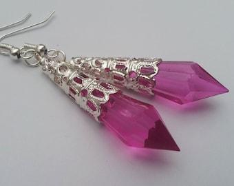 Hot Pink Earrings , Pink Teardrop Earrings , Silver Earrings , Dangling Earrings , Handmade Jewelry , Victorian Earrings , Handmade Gift
