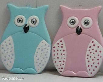 Porcelain painted owls