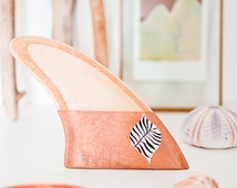 Wooden surf fin hand shaped : copper