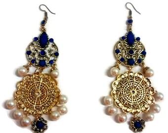 Gold Statement Earrings, Long Gold Earrings, Holiday Earrings, Christmas Earrings, Gold Earrings, Long Earrings, Statement Earrings, Earring
