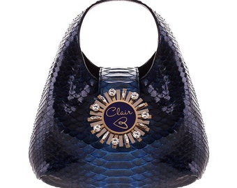 Python handbag GRETA//genuine python leather blue (italian leather)