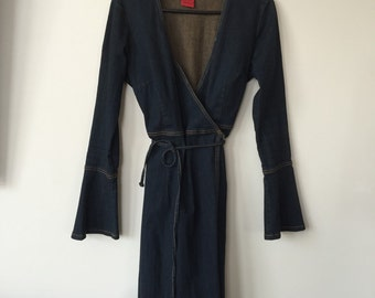 90's Blue Denim Wrap Dress With Bell Sleeves. Vtg!