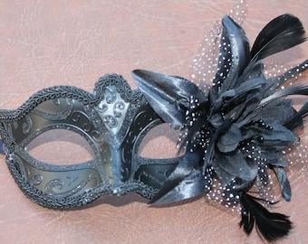Ladies Black Masquerade Mask with Flower Detail