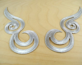 Shimmery Silver Mirrored Swirl Appliques Perfect for Neckline Costumes and Gowns with Iron On Backing