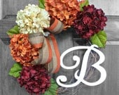 Fall Wreath, Front Door Wreaths, Hydrangea Wreath with Monogram, Initial Wreath, Etsy Wreaths,Fall Decor, Autumn Wreath, Thanksgiving Wreath