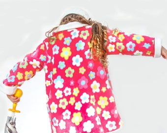 Fleece jacket for girls (PINK),  two sided reversible