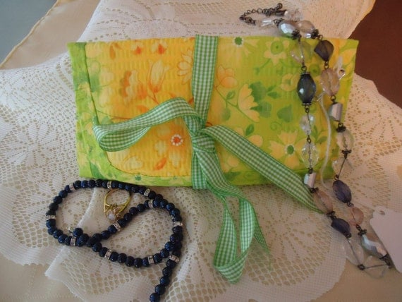 Travel Size Jewelry Organizer  7 1/2 inches x 12 inches Trifold Color - Bright Summer Yellow & Green