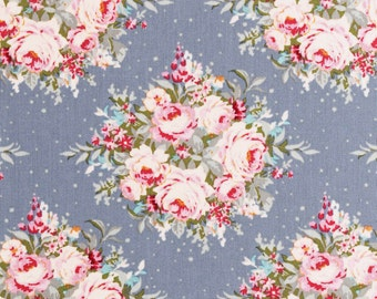 NEW - TILDA  'Sweetheart ' Floribunda Light Blue Floral 100% Cotton Fabric Fat Quarter