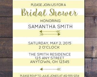 Yellow Striped & Gold Bridal Shower Invitations
