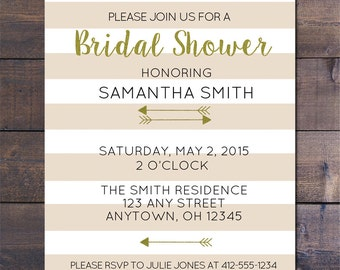 Tan Striped & Gold Bridal Shower Invitations